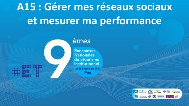 A15 : Gérer mes réseaux sociaux et mesurer ma performance