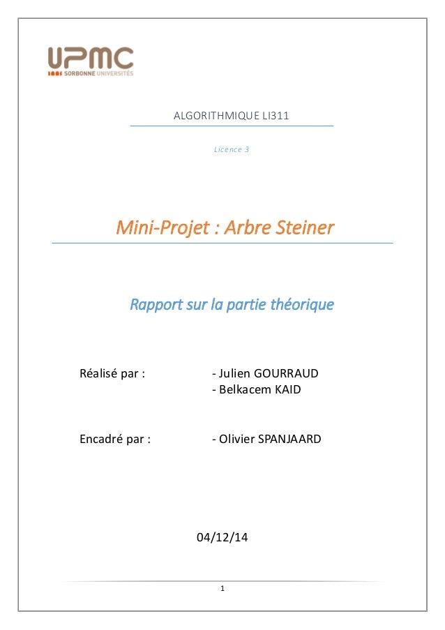 1 ALGORITHMIQUE LI311 Licence 3 Mini-Projet : Arbre Steiner Rapport sur la partie théorique Réalisé par : - Julien GOURRAU...