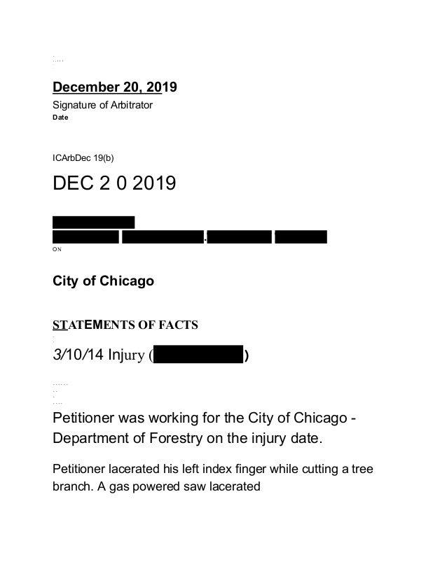 . ..::: .. . December 20, 2019 Signature of Arbitrator Date ICArbDec 19(b) DEC 2 0 2019 Kenneth Daciolas 15 WC 11389 15 WC...