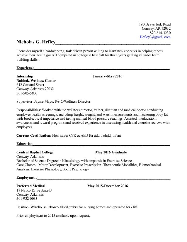 Exercise Science Resume | Resume