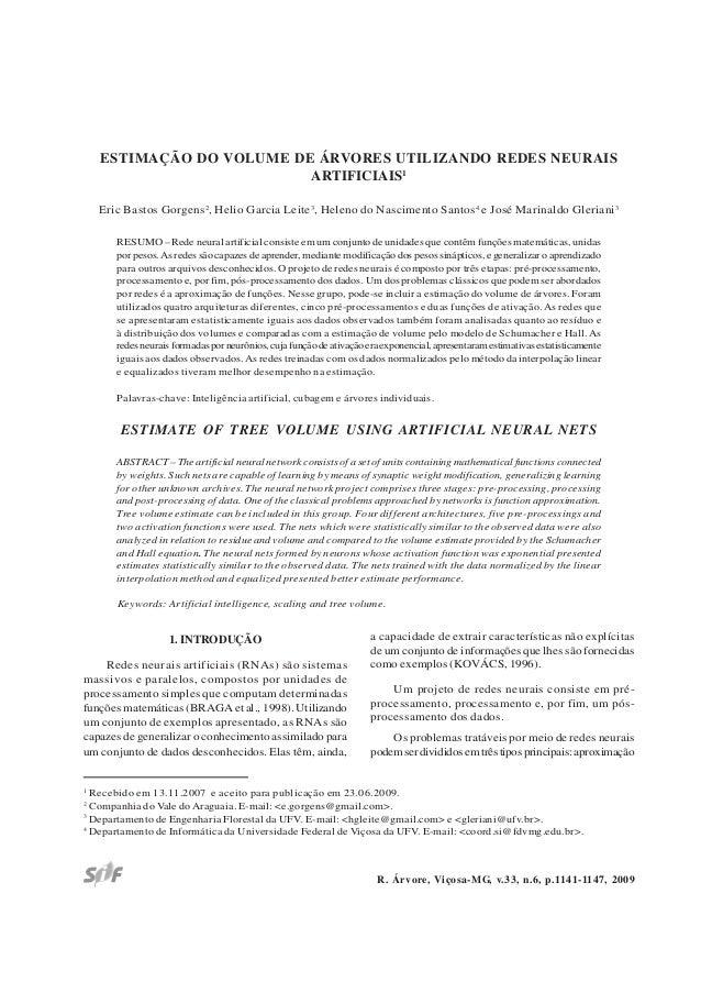 1141Estimação do volume de árvores … R. Árvore, Viçosa-MG, v.33, n.6, p.1141-1147, 2009 ESTIMAÇÃO DO VOLUME DE ÁRVORES UTI...