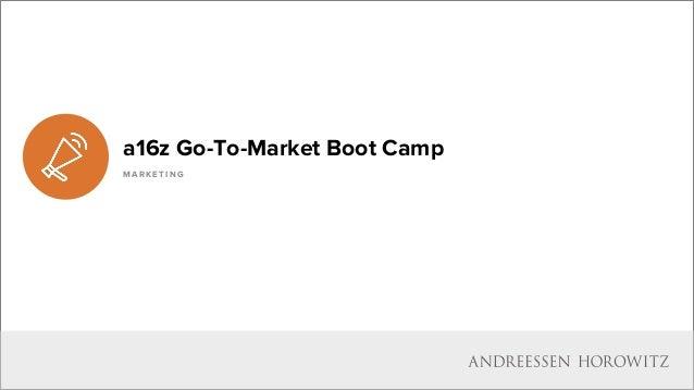 I N D U S T R Y P E R S P E C T I V E S a16z Go-To-Market Boot Camp M A R K E T I N G