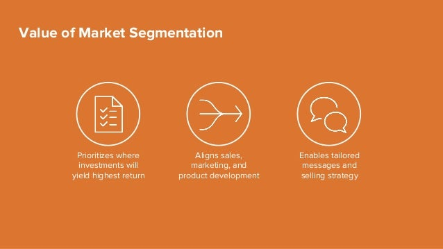 Value of Market Segmentation Prioritizes where investments will yield highest return Aligns sales, marketing, and product ...