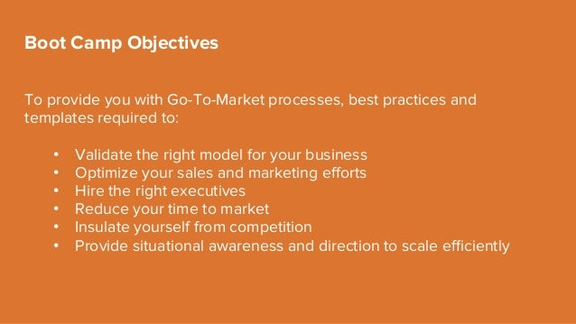 To provide you with Go-To-Market processes, best practices and templates required to: • Validate the right model for your...