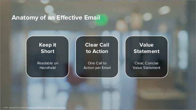 Keep it Short Readable on Handheld Clear Call to Action One Call to Action per Email Value Statement Clear, Concise Value ...