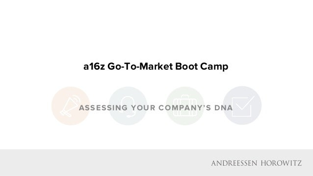 a16z Go-To-Market Boot Camp ASSESSING YOUR COMPANY'S DNA