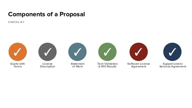 Components of a Proposal C H E C K L I S T Quote with Terms ✓ License Description ✓ Statement of Work ✓ Tech Validation & ...