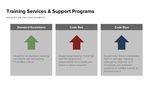Training Services & Support Programs E S C A L A T I O N P R O C E S S E X A M P L E Standard Escalations Code Red Code Bl...
