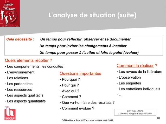 10 OSH – Berra Paul et Waroquier Valérie, août 2012 L'analyse de situation (suite) Cela nécessite : Un temps pour réfléchi...