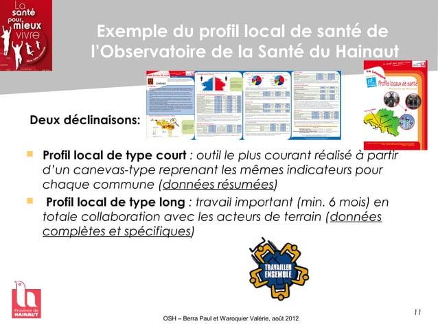 11 OSH – Berra Paul et Waroquier Valérie, août 2012 Exemple du profil local de santé de l'Observatoire de la Santé du Hain...