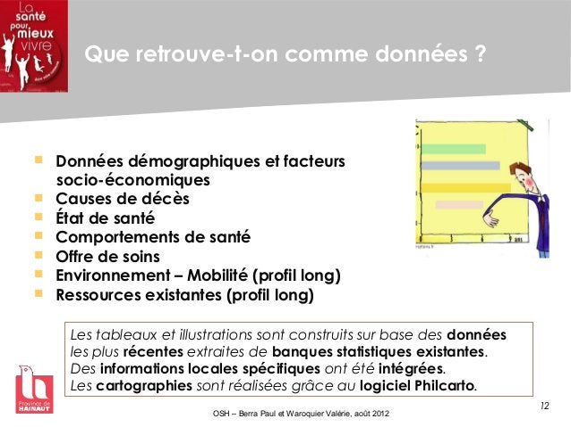 12 OSH – Berra Paul et Waroquier Valérie, août 2012 Que retrouve-t-on comme données ?  Données démographiques et facteurs...