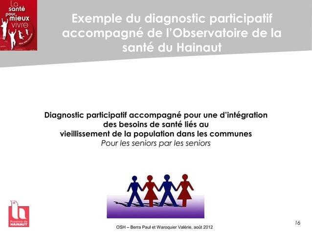 16 OSH – Berra Paul et Waroquier Valérie, août 2012 Exemple du diagnostic participatif accompagné de l'Observatoire de la ...