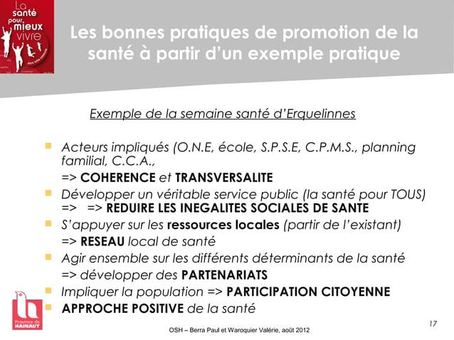17 OSH – Berra Paul et Waroquier Valérie, août 2012 Les bonnes pratiques de promotion de la santé à partir d'un exemple pr...