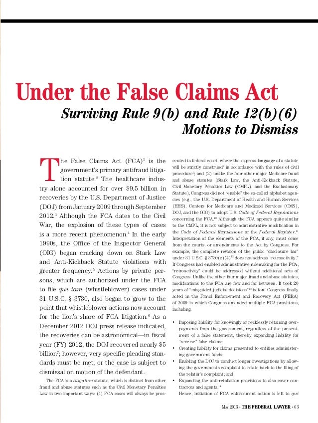 Pleading Healthcare Fraud and Abuse Rule 9b 12 b 6 Merritt Rose 05 13