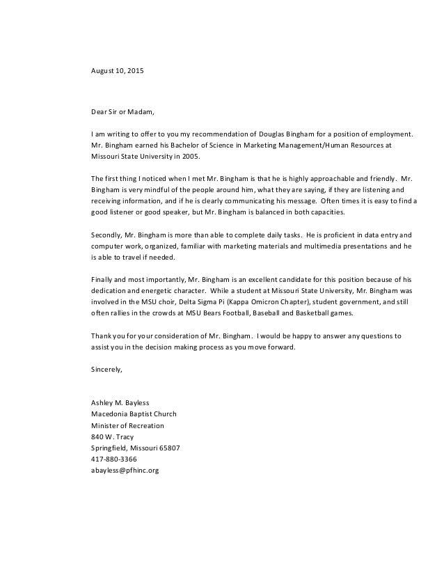 General Letter Of Recommendation For Douglas Bingham