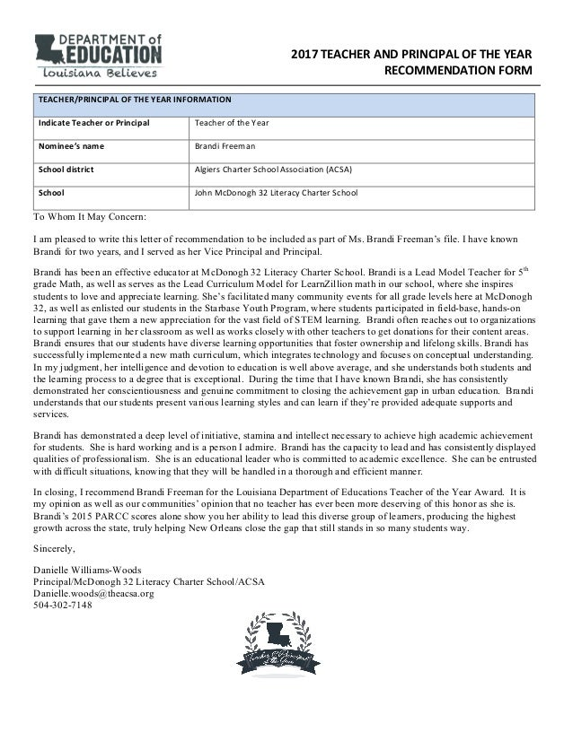 Letter Of Recommendation For A Principal From A Teacher from image.slidesharecdn.com