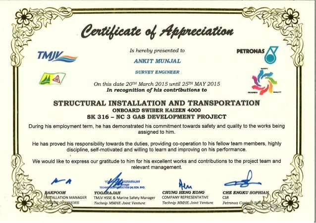 Certificate of Appreciation - Ankit Munjal Survey Engineer