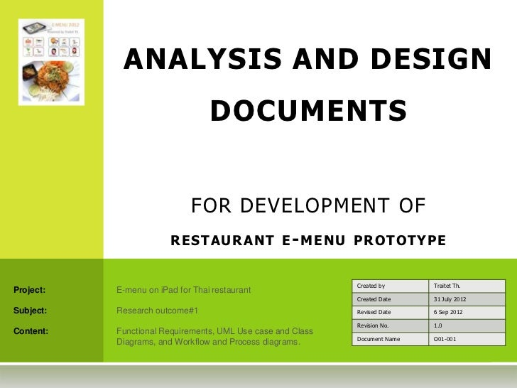 ANALYSIS AND DESIGN                                  DOCUMENTS                             FOR DEVELOPMENT OF             ...
