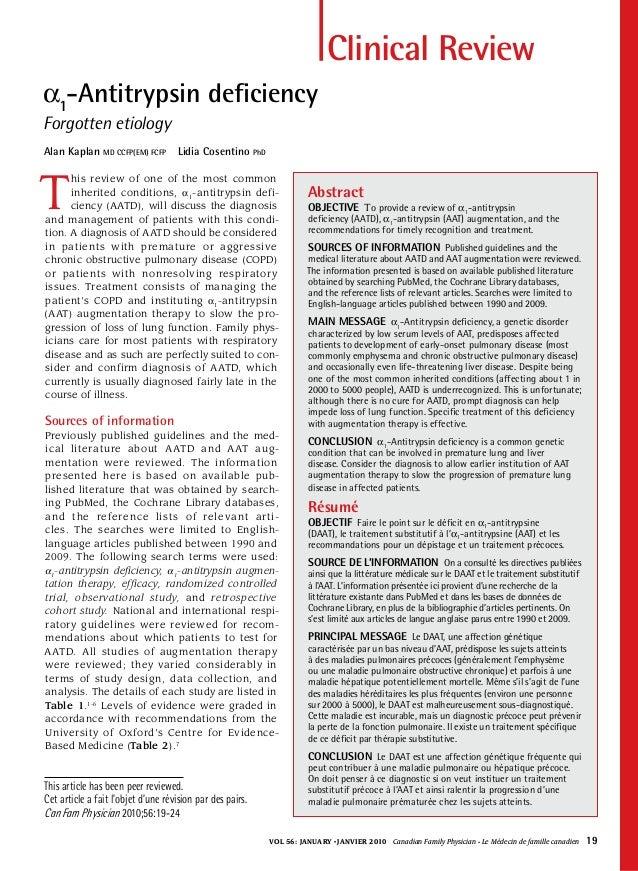 Vol 56:january • janvier 2010 Canadian Family Physician • Le Médecin de famille canadien 19 Clinical Review α1 -Antitry...