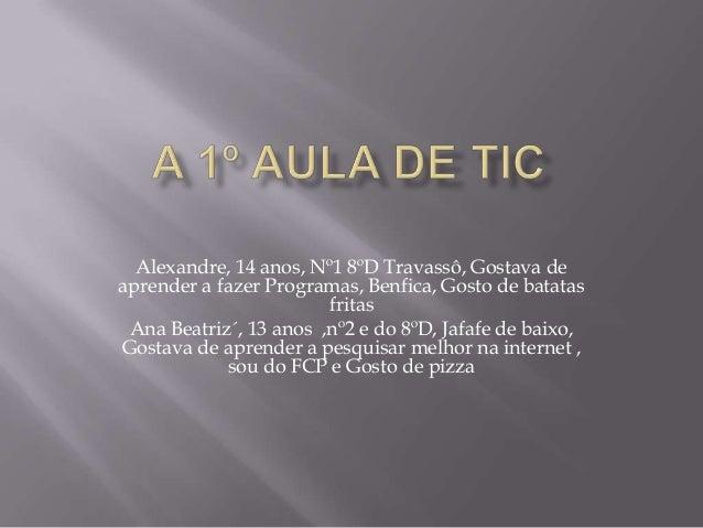 Alexandre, 14 anos, Nº1 8ºD Travassô, Gostava de aprender a fazer Programas, Benfica, Gosto de batatas fritas Ana Beatriz´...
