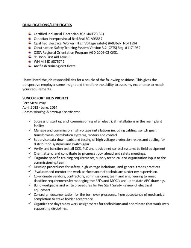 2 qualificationscertificates certified industrial electrician - Industrial Electrician Resume