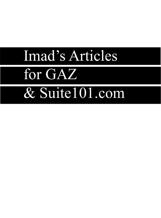 Imad's Articles for GAZ & Suite101.com