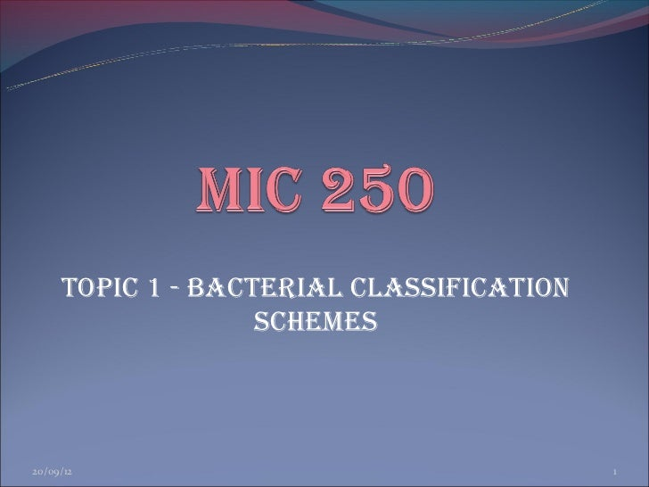 Topic 1 - BAcTERiAL cLASSiFicATioN                   ScHEMES20/09/12                                  1