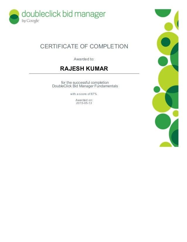 DoubleClick Bid Manager Certification Programs