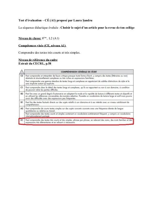 Test d'évaluation – CÉ (A1) proposé par Laura ŞandruLa séquence didactique évaluée : Choisir le sujet d'un article pour la...