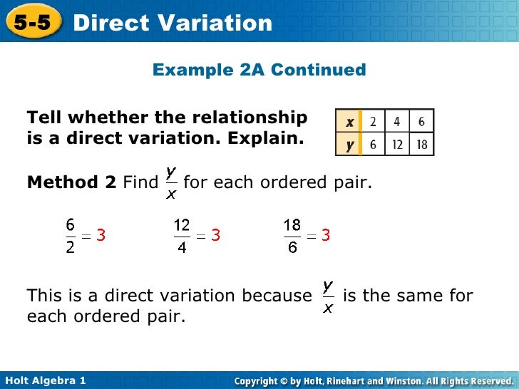 Chapter 5 Direct Variation – Direct Variation Worksheet