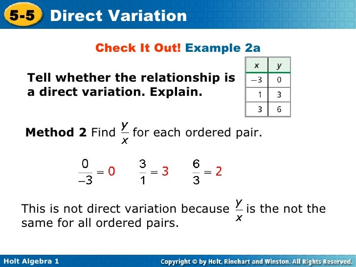 Chapter 5 Direct Variation