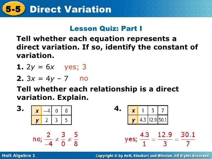 Chapter 5 Direct Variation