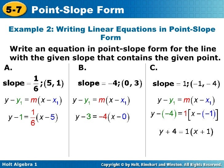 How To Write An Equation In Point Slope Form From A Graph ...