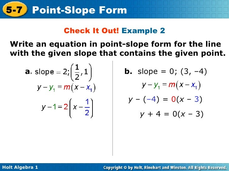 point slope form when slope is 0  Chapter 11 Point Slope Form