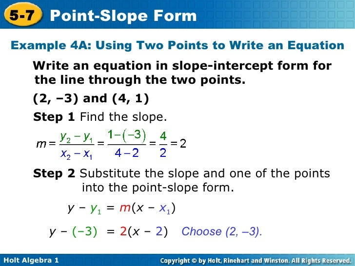 point slope form of 2 points  Chapter 7 Point Slope Form