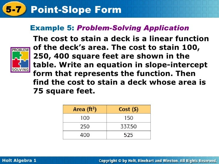 Chapter 5 Point Slope Form