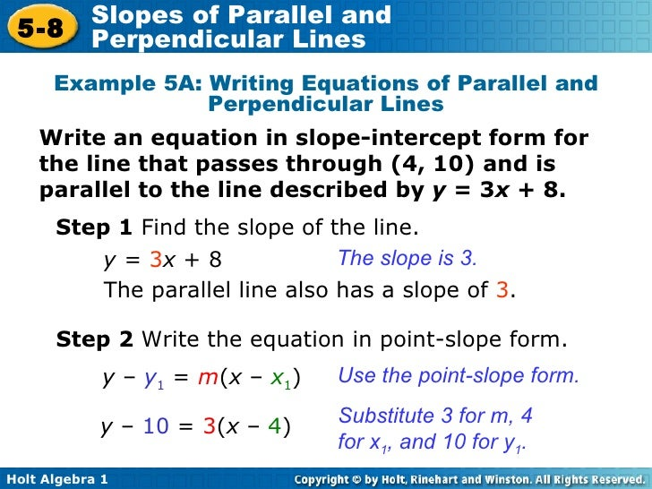 How to Write Equations of Perpendicular & Parallel Lines