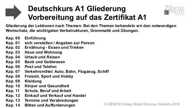 © ZIESCHE Kolleg, Robert Orzanna, Karlsruhe 2016 Gliederung der Lektionen nach Themen: Bei den Themen behandeln wir den no...