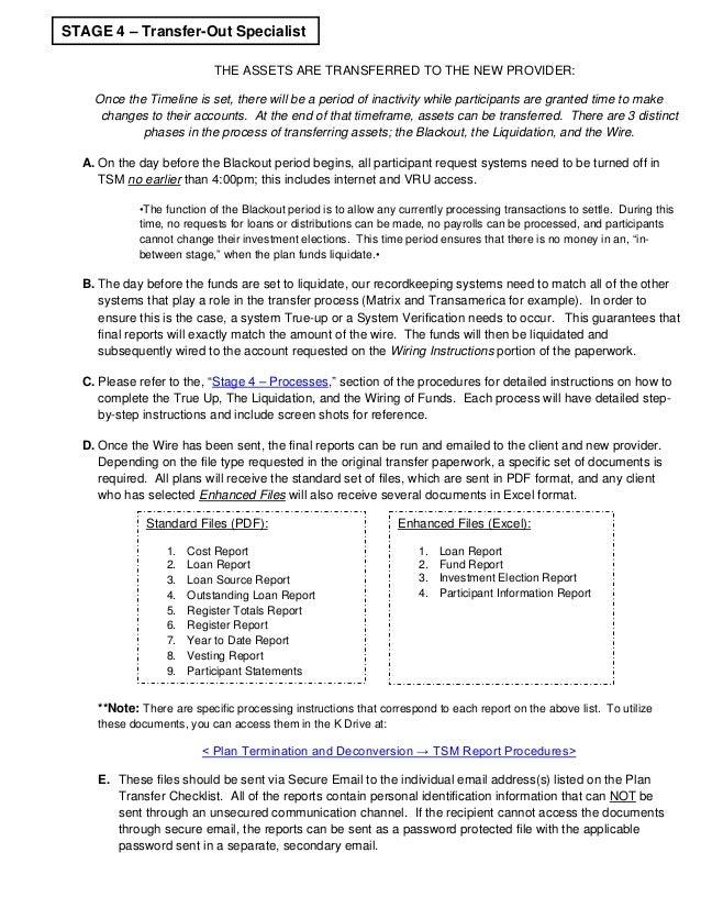 SEBS 401(k) Cancellation Procedures