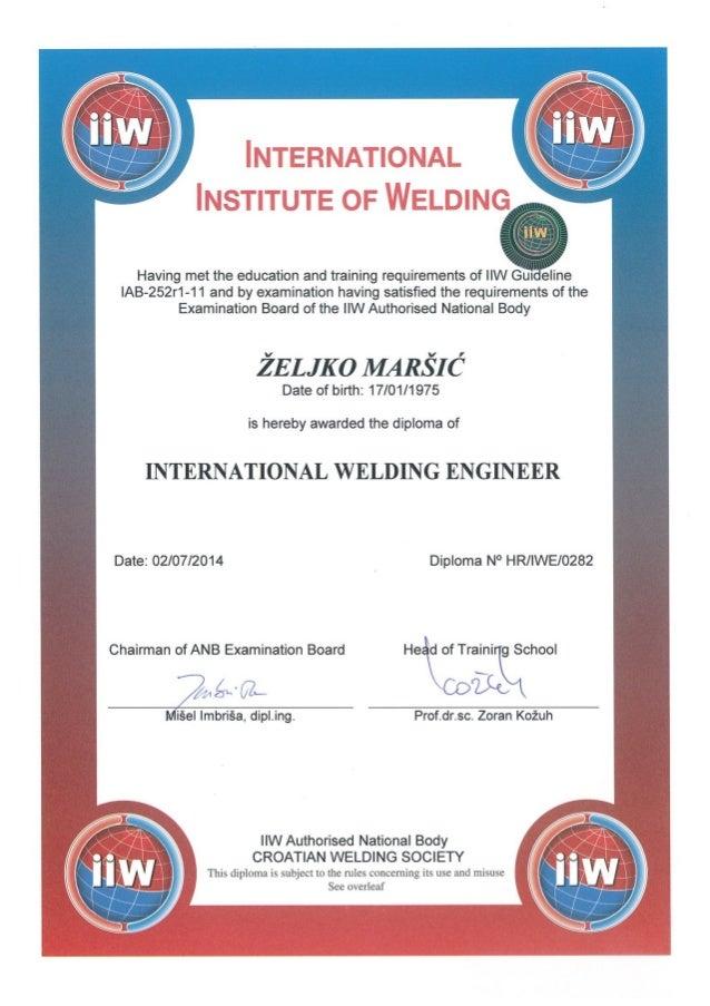 International Welding Engineer Zeljko Marsic