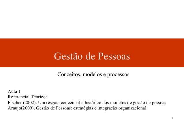 1Gestão de PessoasAula 1Referencial Teórico:Fischer (2002). Um resgate conceitual e histórico dos modelos de gestão de pes...