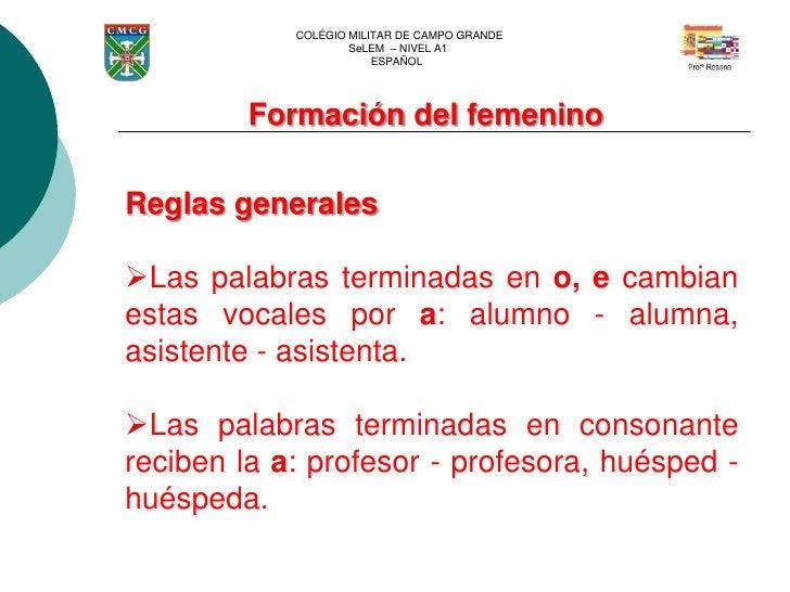 COLÉGIO MILITAR DE CAMPO GRANDE                    SeLEM – NIVEL A1                        ESPAÑOL         Formación del f...