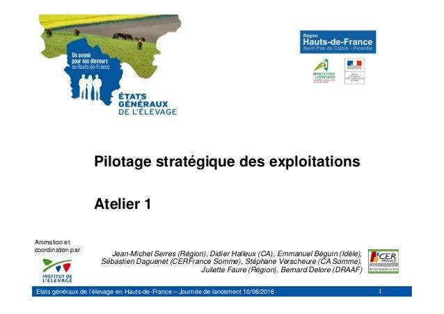 Etats généraux de l'élevage en Hauts-de-France – Journée de lancement 10/06/2016 Pilotage stratégique des exploitations At...