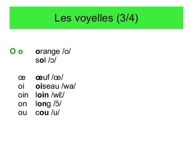 Les voyelles (3/4) Oo œ oi oin on ou  orange /o/ sol /ɔ/ œuf /œ/ oiseau /wa/ loin /wɛ/  long /ɔ/ cou /u/