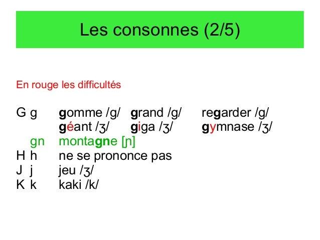 Les consonnes (2/5) En rouge les difficultés  Gg gn Hh J j K k  gomme /g/ grand /g/ géant /ʒ/ giga /ʒ/ montagne [ɲ] ne se ...