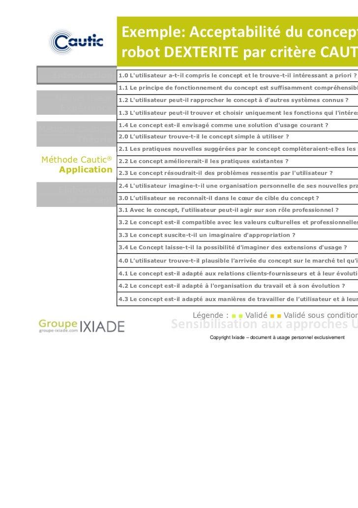 Exemple: Acceptabilité du concept de                  robot DEXTERITE par critère CAUTIC®  Introduction    1.0 Lutilisateu...