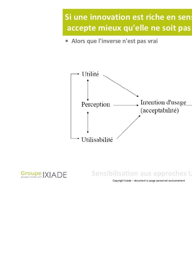 Si une innovation est riche en sens, lutilisateuraccepte mieux quelle ne soit pas ergonomique• Alors que linverse nest pas...