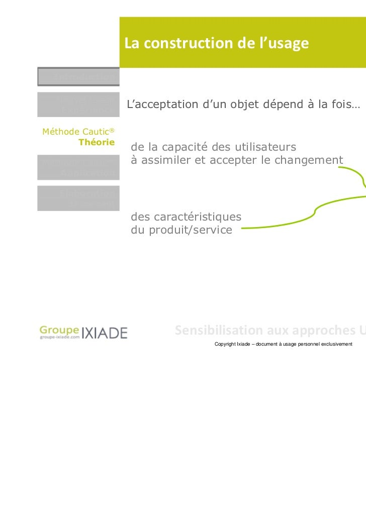 La construction de l'usage  Introduction  Nouvel usage   Expérience                  L'acceptation d'un objet dépend à la ...