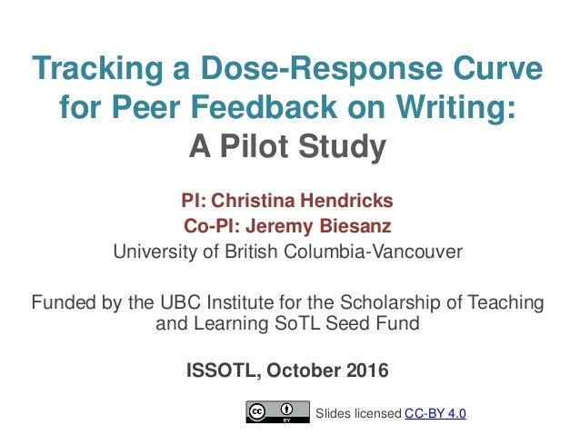 Tracking a Dose-Response Curve for Peer Feedback on Writing: A Pilot Study PI: Christina Hendricks Co-PI: Jeremy Biesanz U...