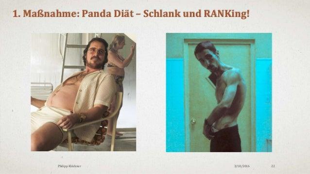 3/18/2016Philipp Klöckner 22 1. Maßnahme: Panda Diät – Schlank und RANKing!